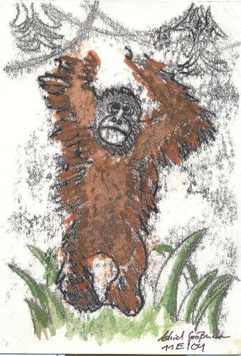 Kunstdruck von einem Affen